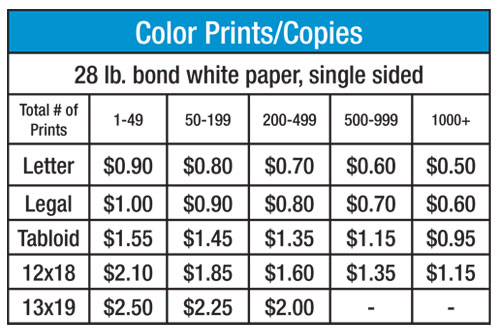 Full color prints copies pricing